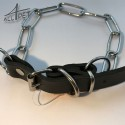 Chrome Choke Chains Fur Saver Long Link Collar Leather Strap