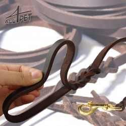 LORD Brown Leather Lead - show, training, walking - brass clip
